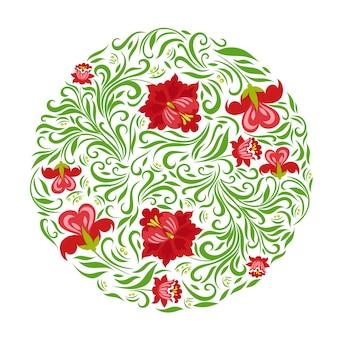 Cirkel met bloemen op een witte achtergrond.