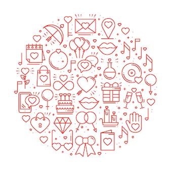 Cirkel met liefdesymbolen.