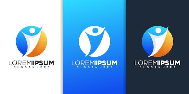 Cirkel met logo-ontwerp met menselijke kleurverloop