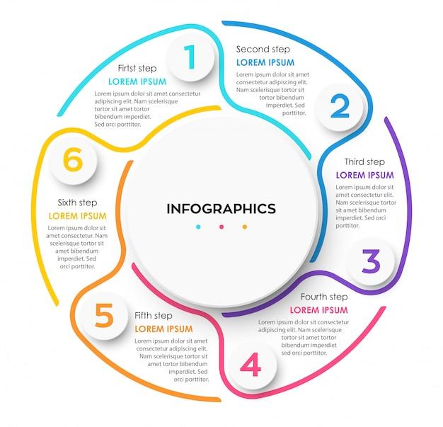 Cirkel ontwerpsjabloon voor infographics met 6 opties of stappen.
