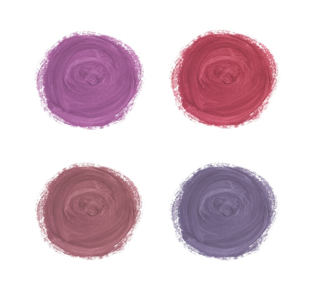 Cirkel penseelstreek aquarel textuur. rose goud, rood en paars aquarel wast.