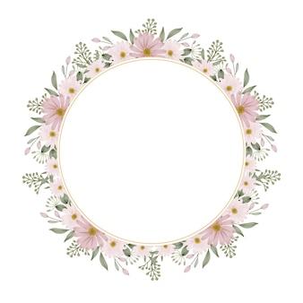 Cirkel roze madeliefje frame