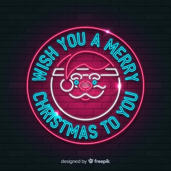 Cirkel santa kerstmis neon teken