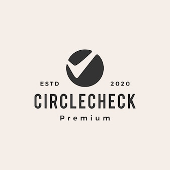 Cirkel selectievakje vintage logo pictogram illustratie