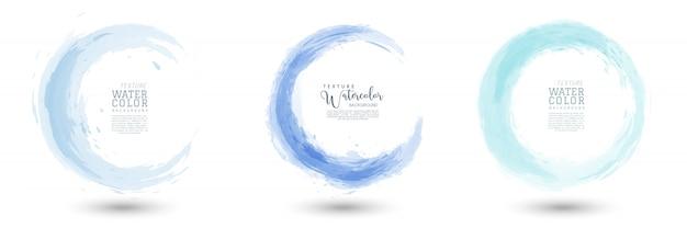 Cirkel splash met pastel blauwe aquarel set