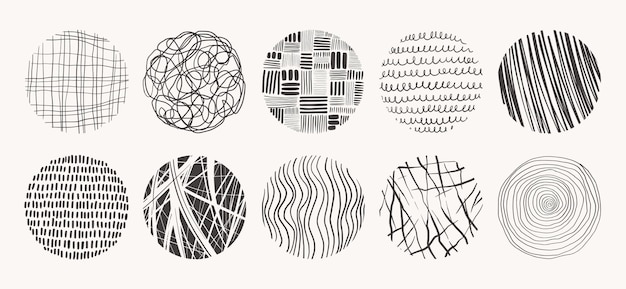 Cirkel texturen gemaakt met inkt, potlood, penseel. geometrische doodle vormen van vlekken, stippen, cirkels, slagen, strepen, lijnen. set hand getrokken patronen.