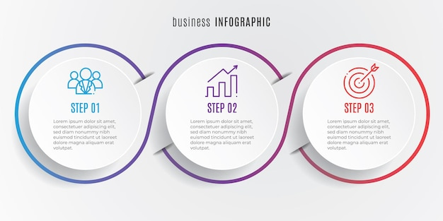 Cirkel tijdlijn infographic sjabloon 3 stappen