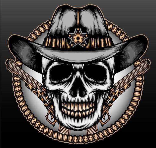 Cirkel touw schedel cowboy geïsoleerd op zwart