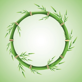 Cirkel van bamboe stam met bladeren pictogram.