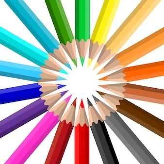 Cirkel van fel gekleurde potloden op een witte achtergrond