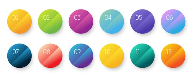 Cirkel verloop 3d icon set met nummer opsommingsteken van 1 tot 12.