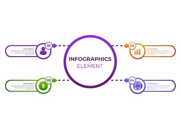 Cirkel verloop infographic ontwerp vier stappen infographic ontwerp