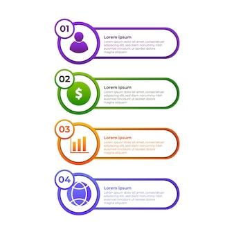 Cirkel verloop infographic ontwerp. vier stappen infographic ontwerpsjabloon.