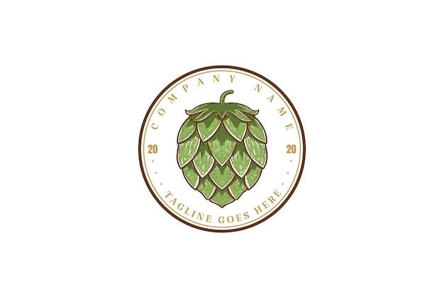 Cirkel vintage retro hop voor craft beer brewing brewery product label logo design vector