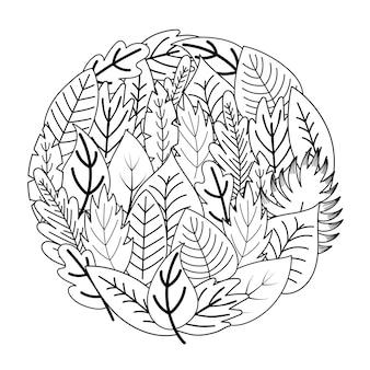 Cirkel vorm kleurplaat met doodle bladeren