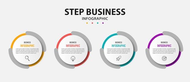Cirkel zakelijke infographic sjabloon met 5 opties.