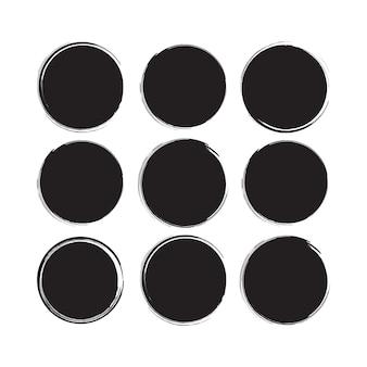 Cirkel zwart penseelstreek element penseelornament