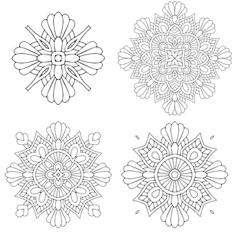 Cirkel zwart-wit ornament, decoratieve ronde kantcollectie