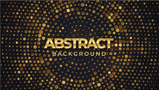 Cirkel zwarte gestructureerde achtergrond met glanzend gouden halftoonpatroon