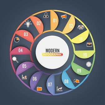 Cirkeldiagram infographic sjabloon met 12 opties voor presentaties.
