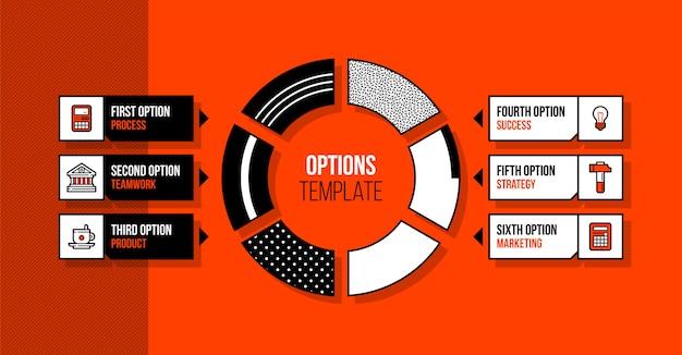 Cirkeldiagram infographics sjabloon met zes segmenten