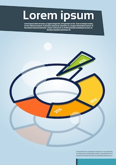 Cirkeldiagram met flyer voor percentage financiële grafieken