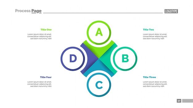 Cirkeldiagram met vier elementen sjabloon