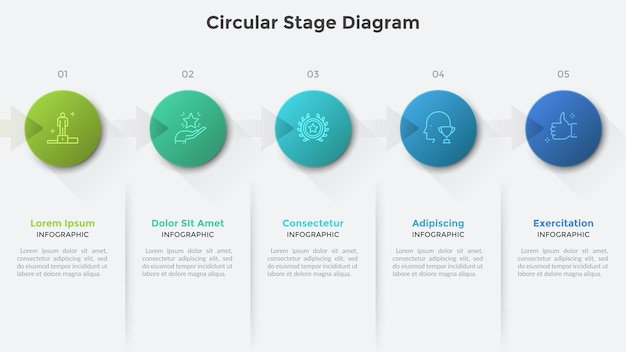 Cirkeldiagram met vijf ronde elementen verbonden door pijlen. creatieve infographic ontwerpsjabloon. concept van 5 stappen van zakelijke projectontwikkeling. vectorillustratie voor voortgangsbalk.