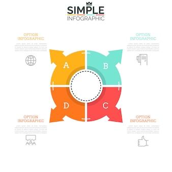Cirkeldiagram verdeeld in vier sectoren met pijlen die naar pictogrammen en tekstvakken wijzen. webinterface-element, concept van navigatie-tool met vier opties.