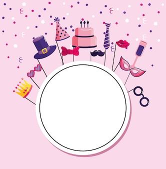 Cirkelembleem met decoratie gelukkige verjaardag