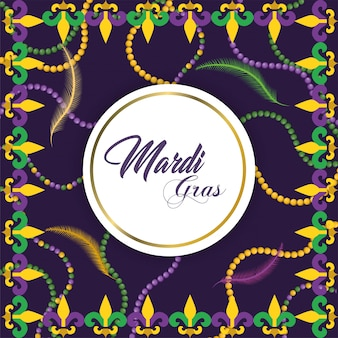 Cirkelembleem met halskettingdecoratie aan merdi gras-evenement