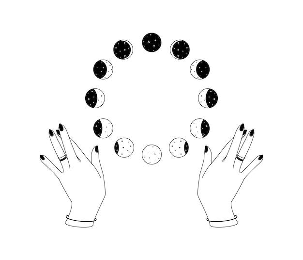Cirkelfasen van de maan over de handen van de vrouw schetsen het boheemse hemelse symbool spirituele occulte tekens in...