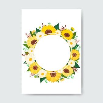 Cirkelframe gemaakt met bloemen.