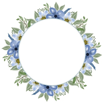 Cirkelframe met blauwe bloem en bladrand