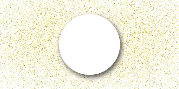 Cirkelframe met gouden confetti op de witte achtergrond.