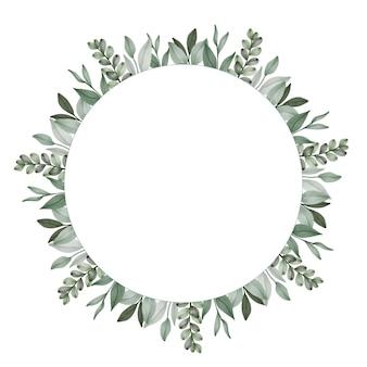 Cirkelframe met opstelling van groene bladeren