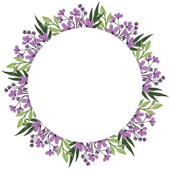 Cirkelframe met paarse wilde bloemen aquarel en groene bladrand