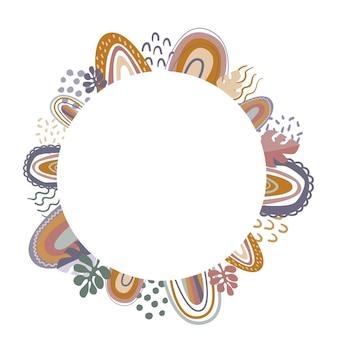 Cirkelframe met regenbogen bladeren en doodles boho-stijl kaart platte vectorillustratie