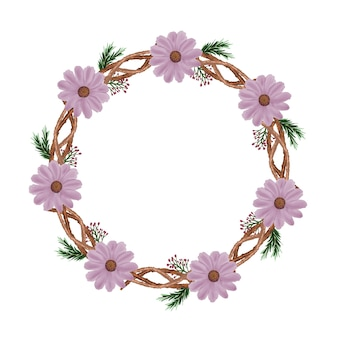 Cirkelframe met roze aquarel bloem en takrand