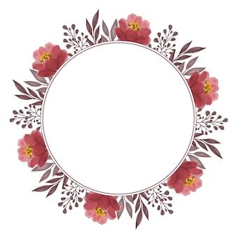 Cirkelframe van rode rozenblad en knoprand