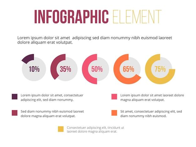 Cirkelknop informatie infographic element