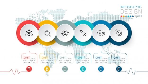 Cirkellabels vormen de balk met infographic groepen.