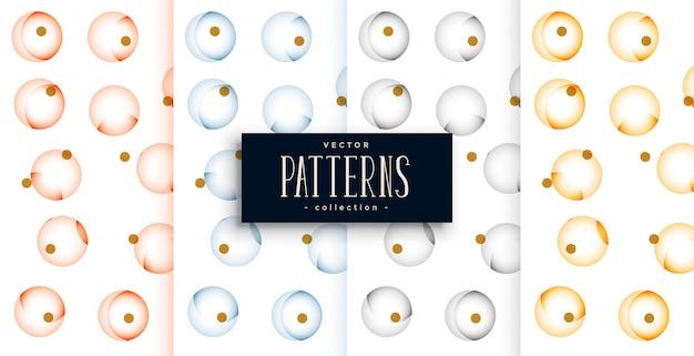 Cirkels elegante patroon set van vier kleuren