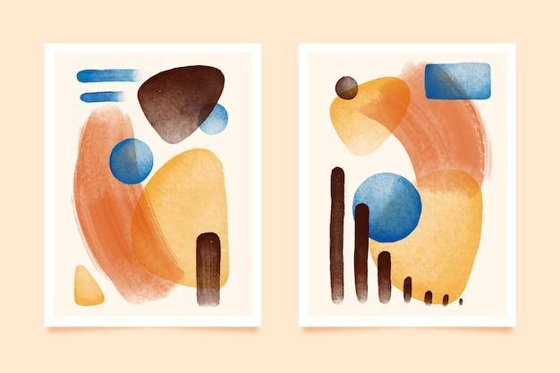 Cirkels en vlekken abstract aquarel voorbladsjabloon