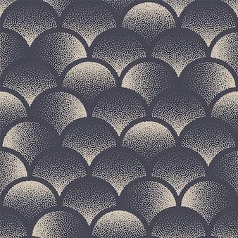 Cirkels gestippelde naadloze patroon aziatische abstracte achtergrond hand getrokken tegelbare geometrische gestippelde textuur