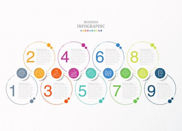 Cirkels infographics en pictogrammen. vector zakelijke sjabloon voor presentatie.