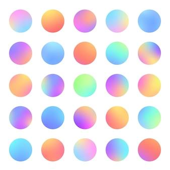 Cirkels verloop levendige wazige bollen platte set voor webpictogrammen etiketten tekenen trendy zachte kleur