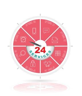 Cirkelstap met 24 dienstenconcept.