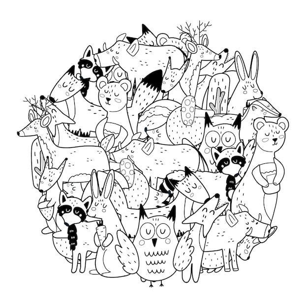 Cirkelvorm kleurplaat met bosdieren