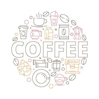 Cirkelvorm van koffiebonen espressomolen warme drank cups cupcakes vector dunne lijn ontwerp